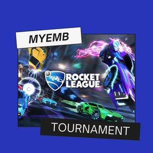 Pictures of race cars, yellow, blue, green in color on a screen saying Rocket League Tournament