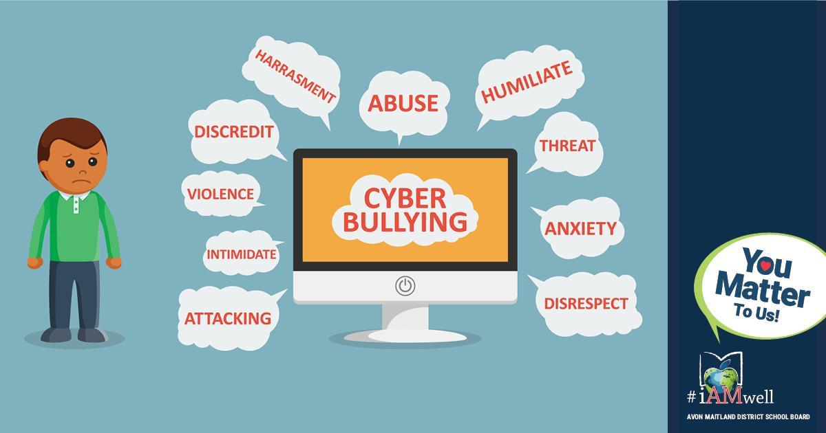 """Illustration of young person standing beside a computer screen that reads """"Cyberbullying."""" Speech bubbles surround the screen: Attacking, indimidate, violence, discredit, harrassment, abuse, humiliate, threat, anxiety, disrespect. #BullyingAwarenessWeek. Sidebar has tag graphic with tree made up of handprints and text: Bullying Awareness and Prevention Week. You Matter To Us! #iAMwell. Avon Maitland District School Board"""