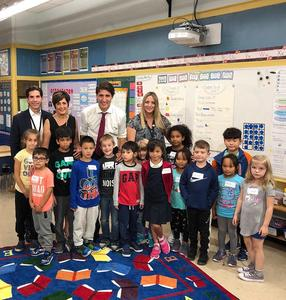 group of Blessed Sacrament students with PM Justin Trudeau