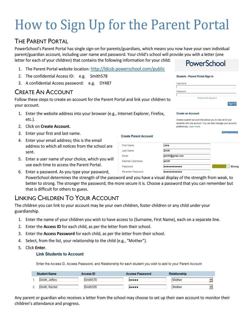 Sign up for the Parent Portal