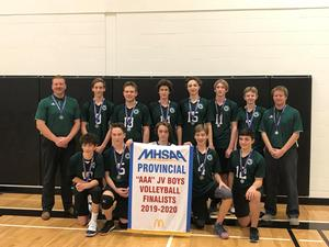 The boys volleyball team consisting of 11 athletes and two coaches pose for a picture with a banner. They finished in 2nd place at MHSAA Provincials for volleyball.