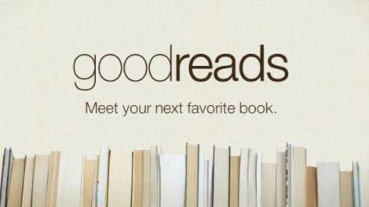 """Good Reads logo. """"Meet your next favourite book"""". Image of row of books"""