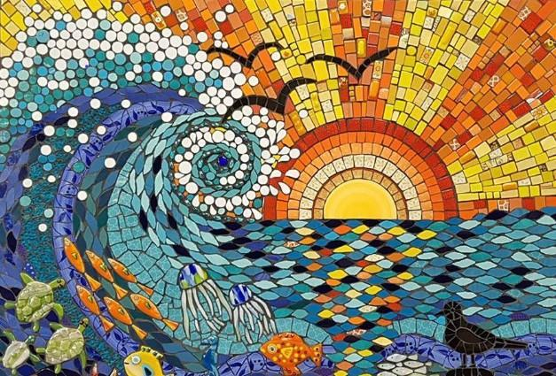 Sunset Wave Mosaic (cropped) by Julie Aldridge