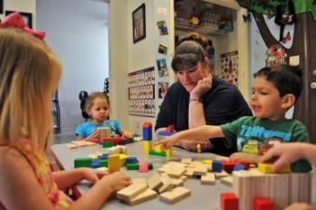 kids learning with blocks