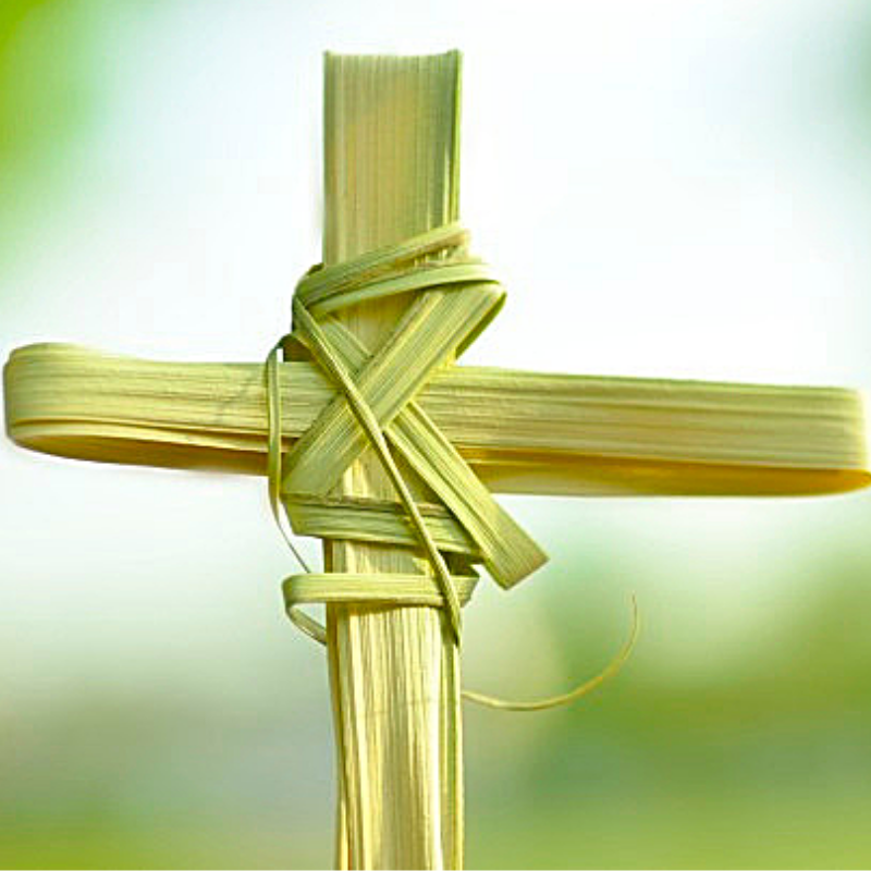 cross made out of palm branches
