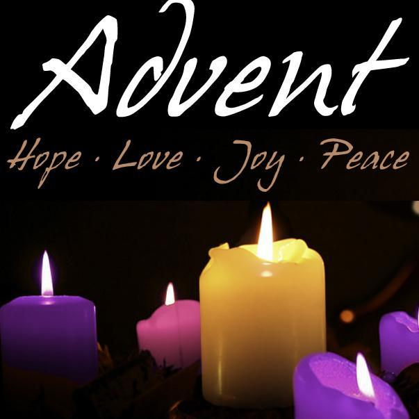 advent text with purple, pink and yellow candles