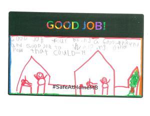 A hand written letter with Good Job written across the top.