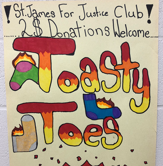 St. James Social Justice Club used a variety of avenues to advertise the ToastyToes Guelph campaign fundraiser.