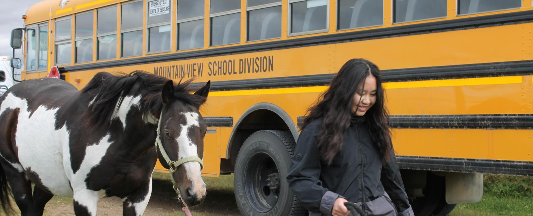 leading a horse beside a school bus