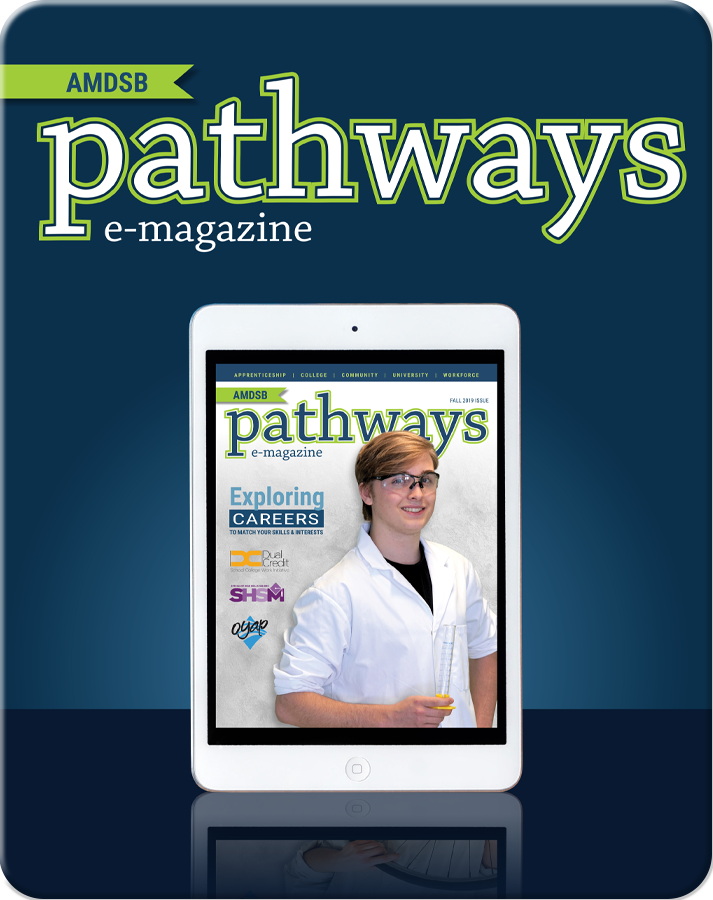 AMDSB pathways e-magazine cover: image of student in lab coat and goggles with text, etc. resembling a magazine cover but on an iPad