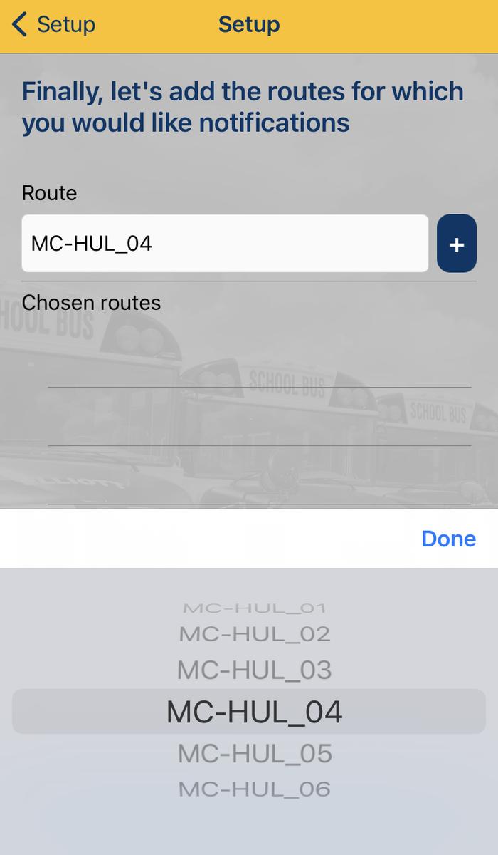 BusPlanner App - choose route