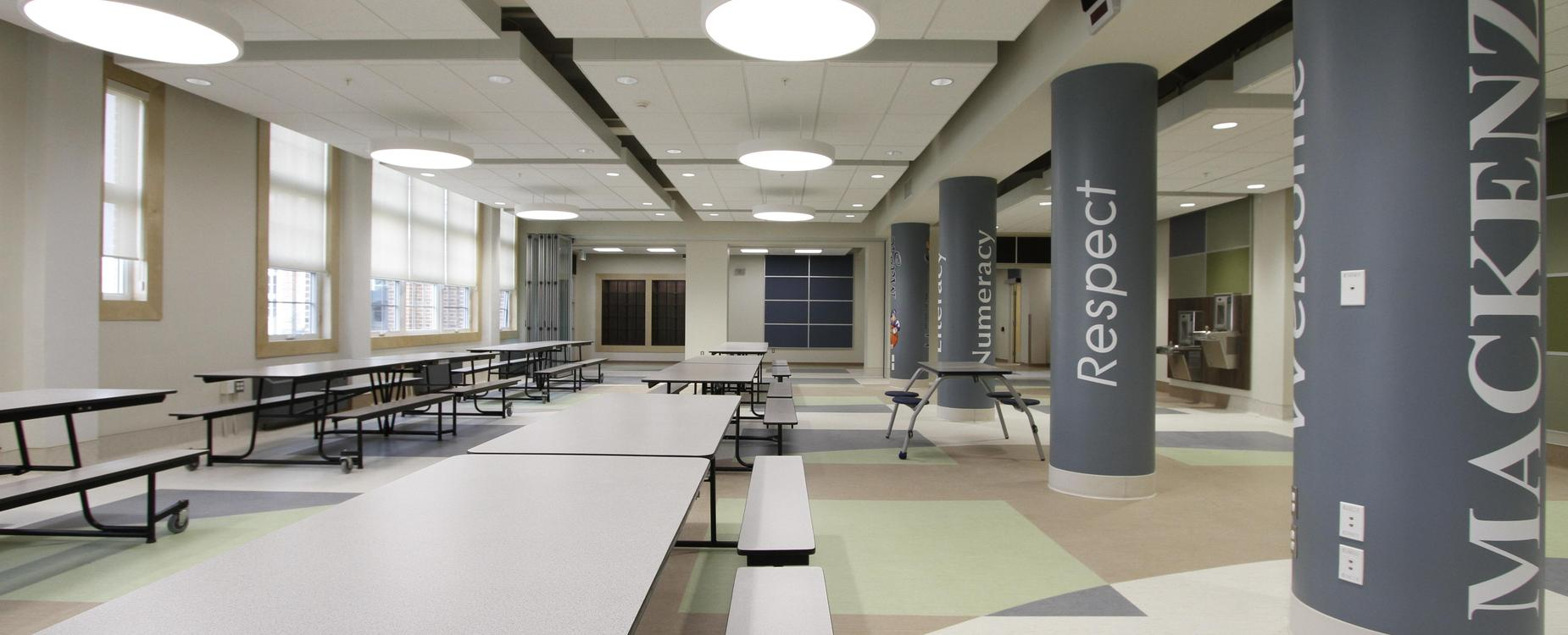 newly renovated foyer in MacKenzie Middle School