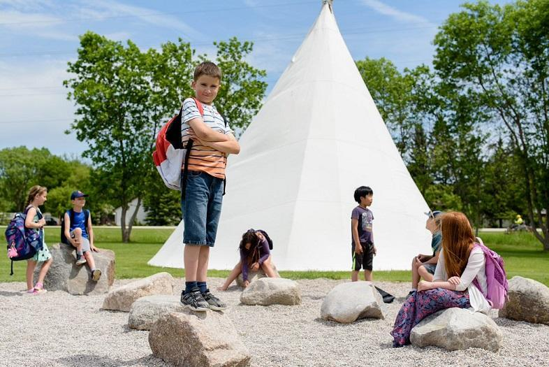 Kids with tipi