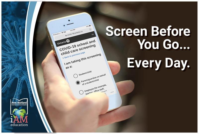 Hand holding a cell phone with the school screening tool on the display. Text: