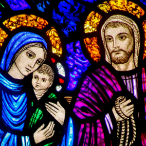 Baby Jesus, Mary and Joseph stain glass