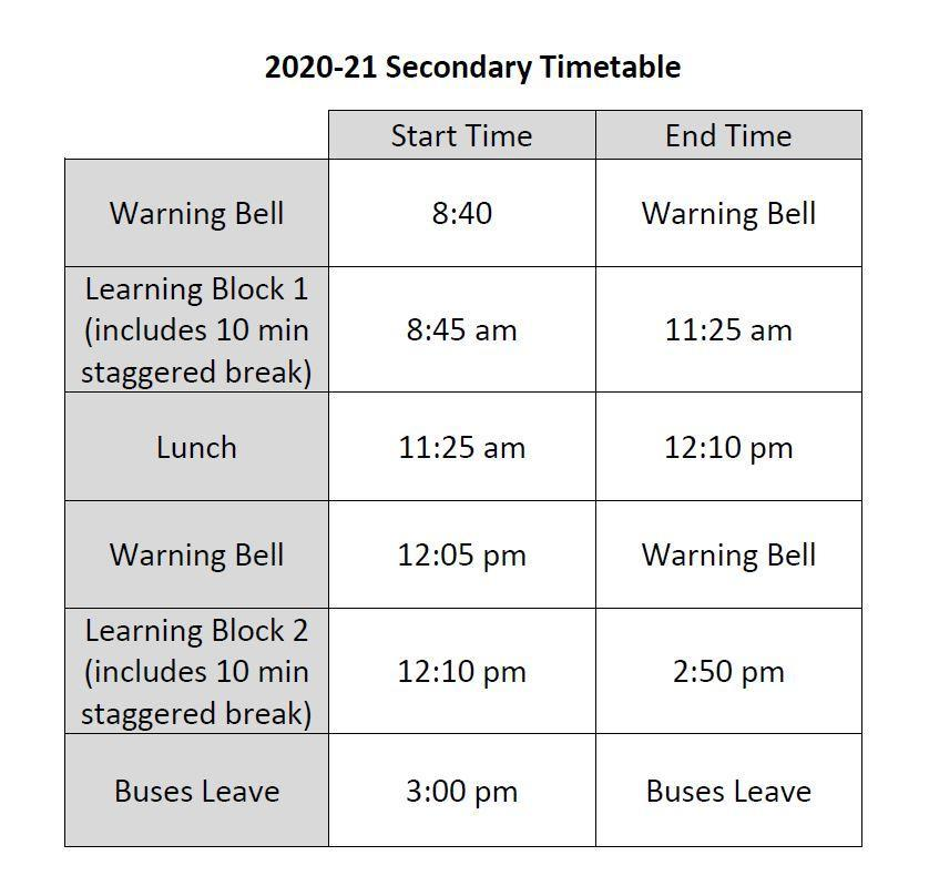 2020-21 Secondary Timetable