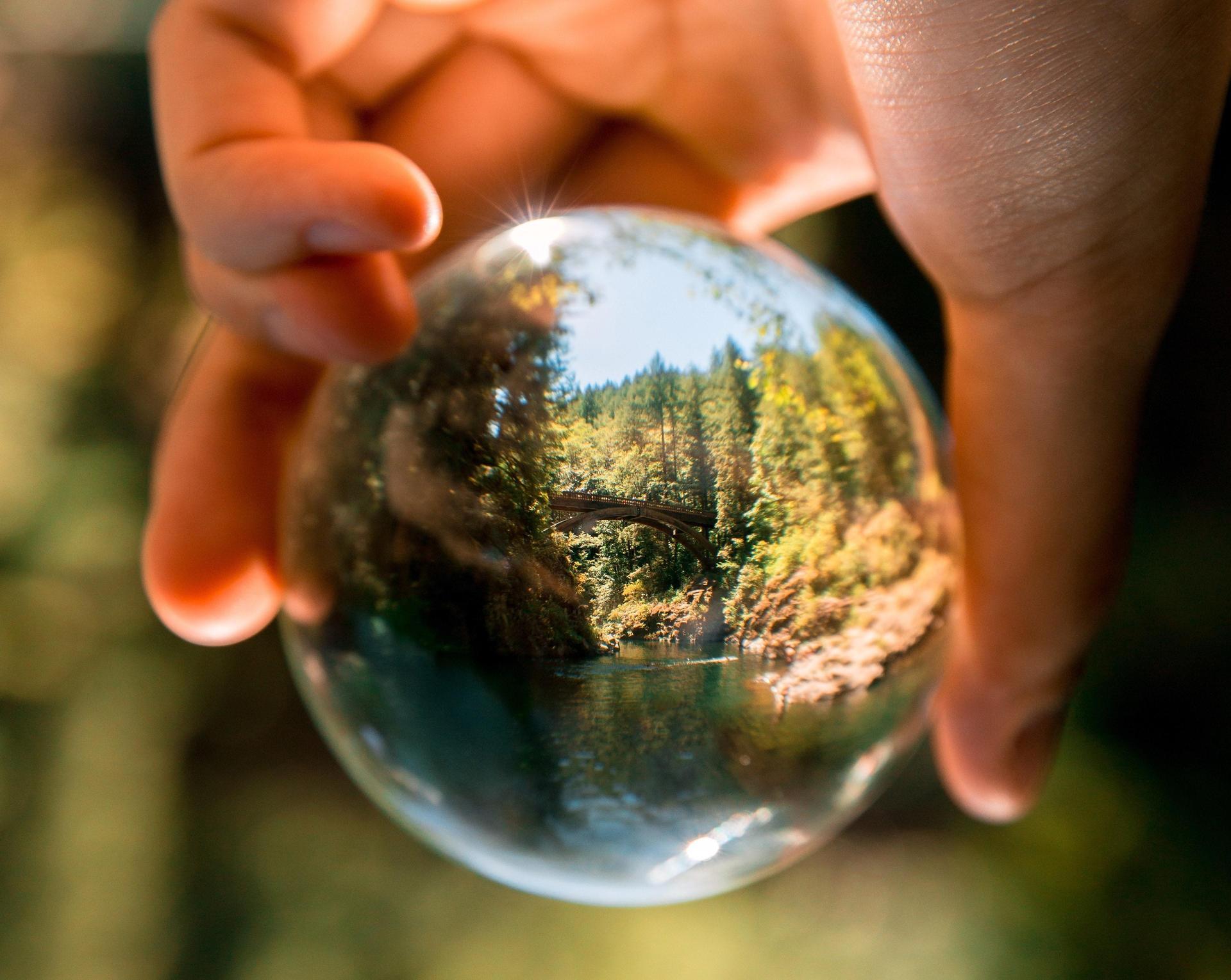 hand and glass ball