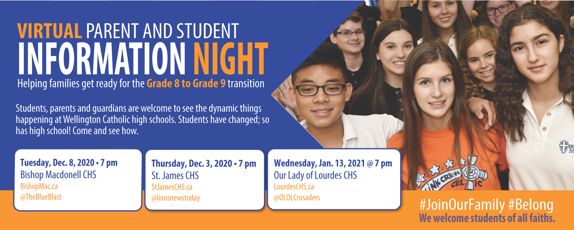 Grade 8 to 9 Virtual Information Night Graphic