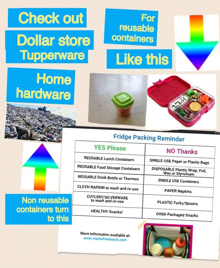 Images and charts to illustrate using reusable containers instead of single use plastic or paper bags/napkins etc.