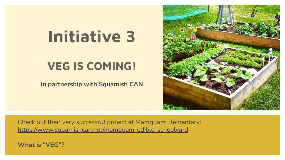 Initiative 3  VEG IS COMING! In partnership with Squamish CAN
