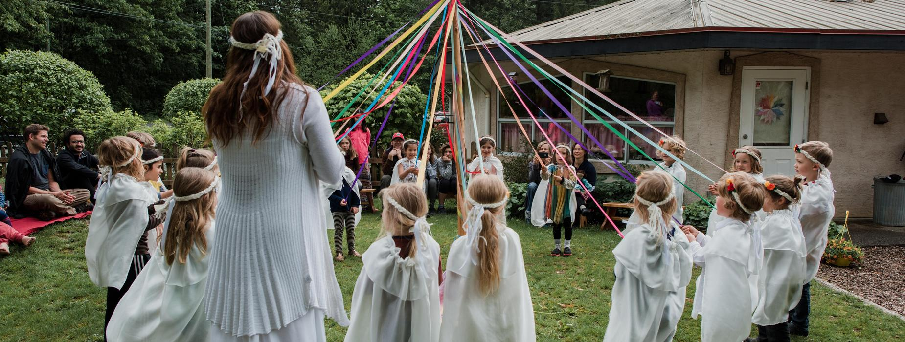 Children Maypole dancing