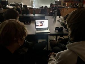 CHSS students participating and collaborating in a virtual online film making workshop with Hayley Morin