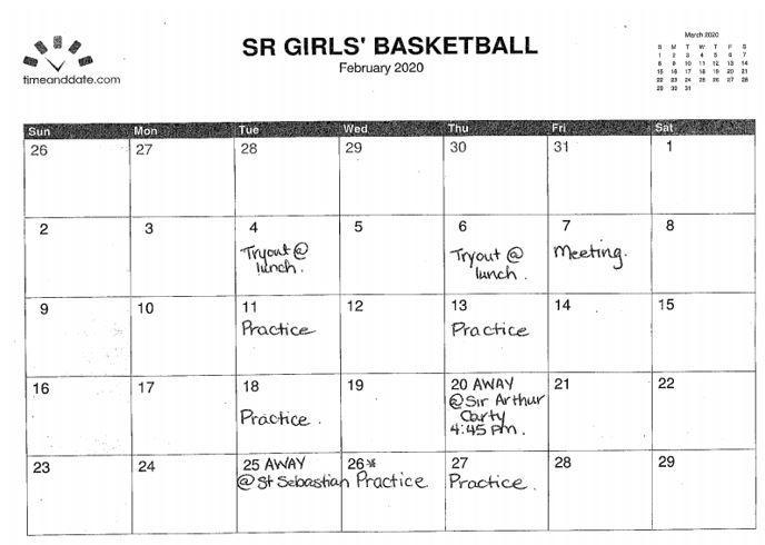 Girls Interm. Bball Feb.
