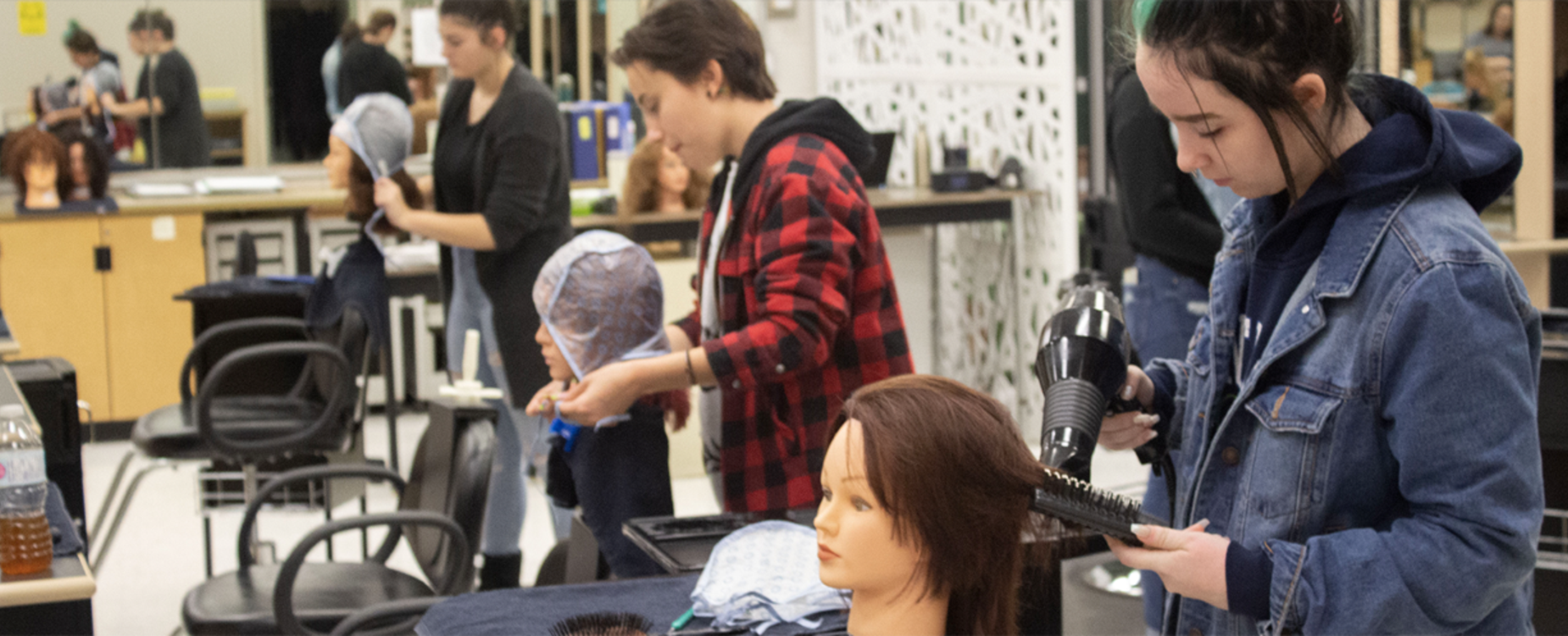 students in hairstyling