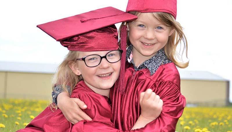 Twin Kindergarten graduates