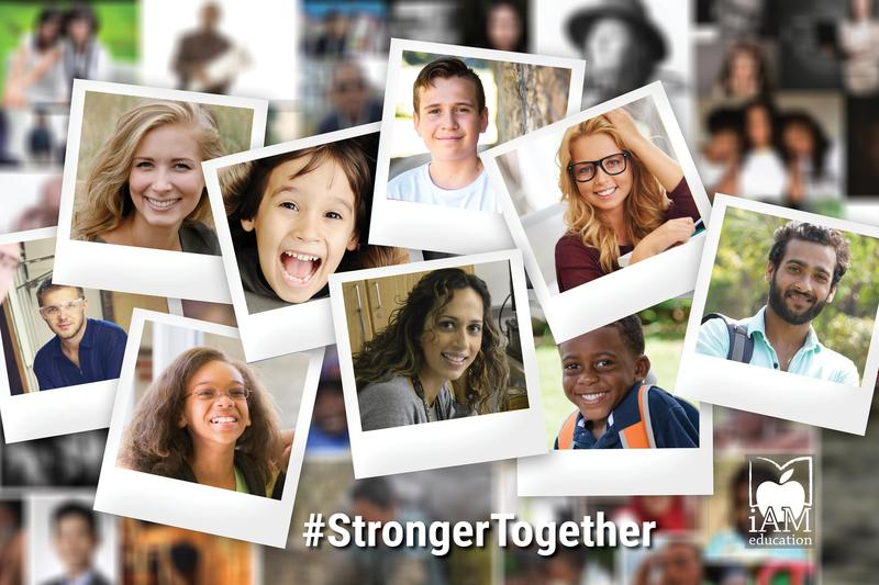 Collage of Polaroid-style photos of young people and adults. #StrongerTogether
