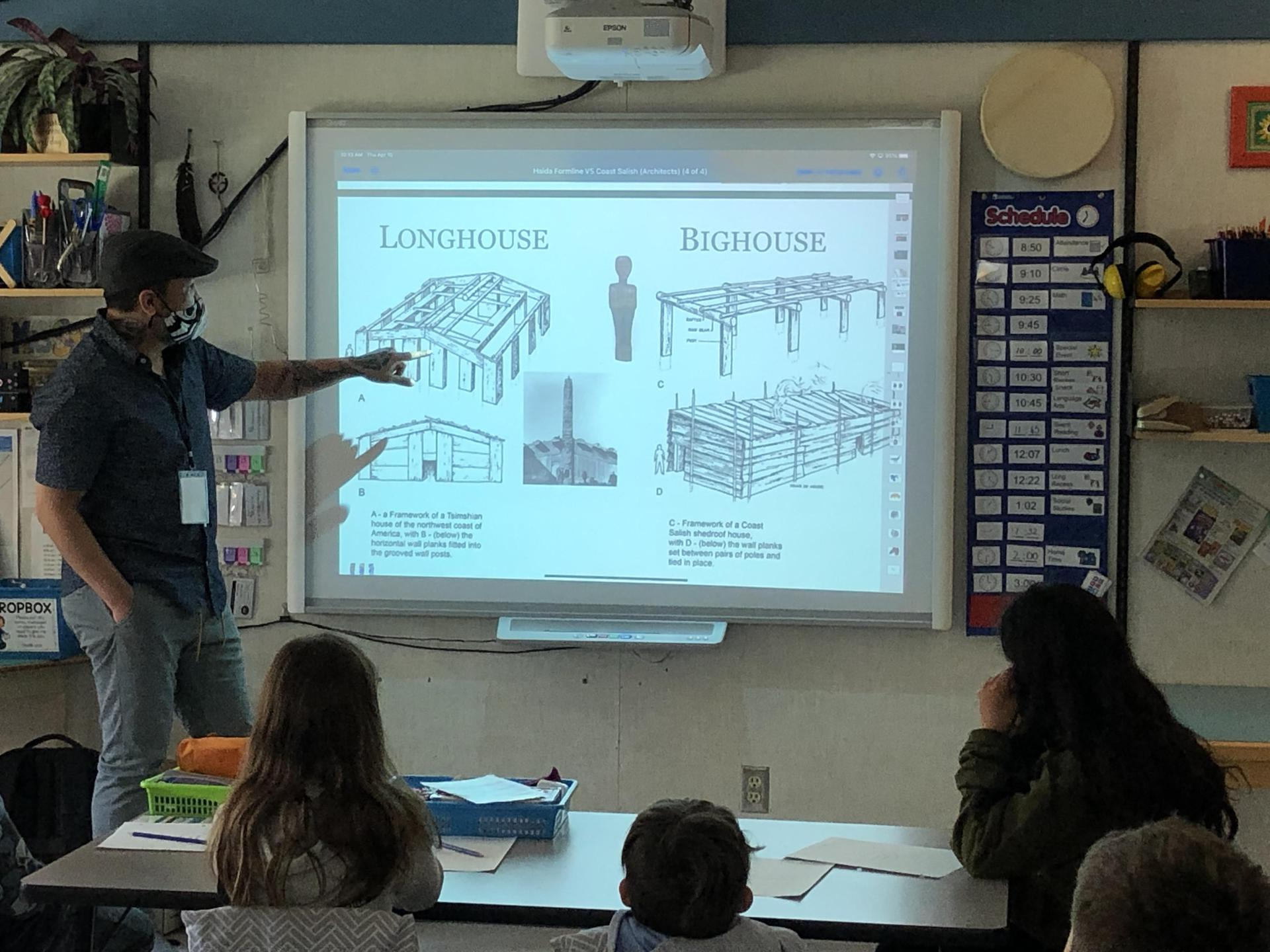 Cory Douglas showing the difference between longhouse and bighouse forms