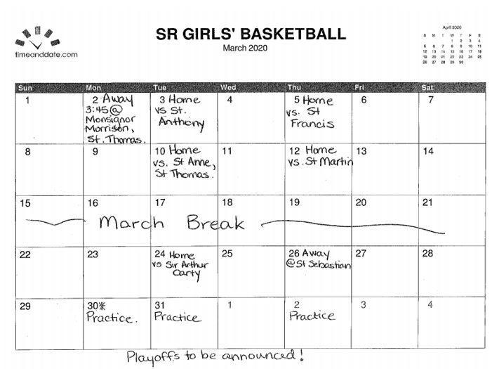 Girls Interm. Bball March