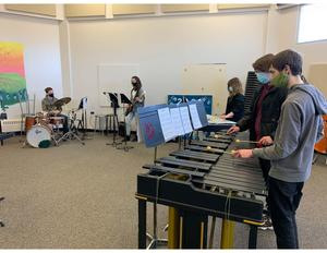 Senior students on percussion instruments