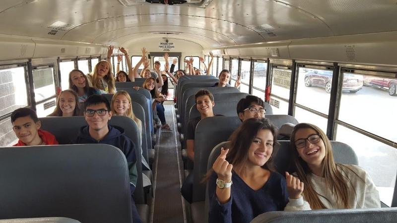international students on bus