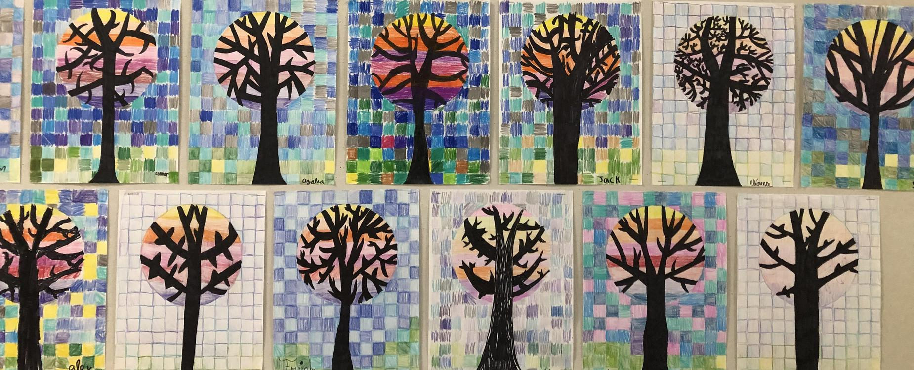 Student artwork of trees.  The tree trunk and branches are black, with a circle of colors around the top of the tree.  The background is small squares of various colors, similar to pixels.