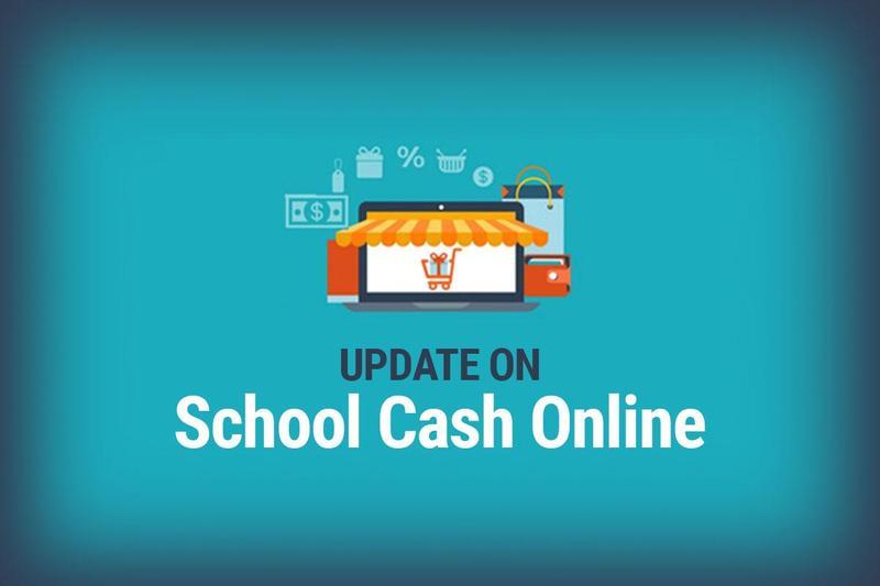 Blue background, School Cash Online logo with
