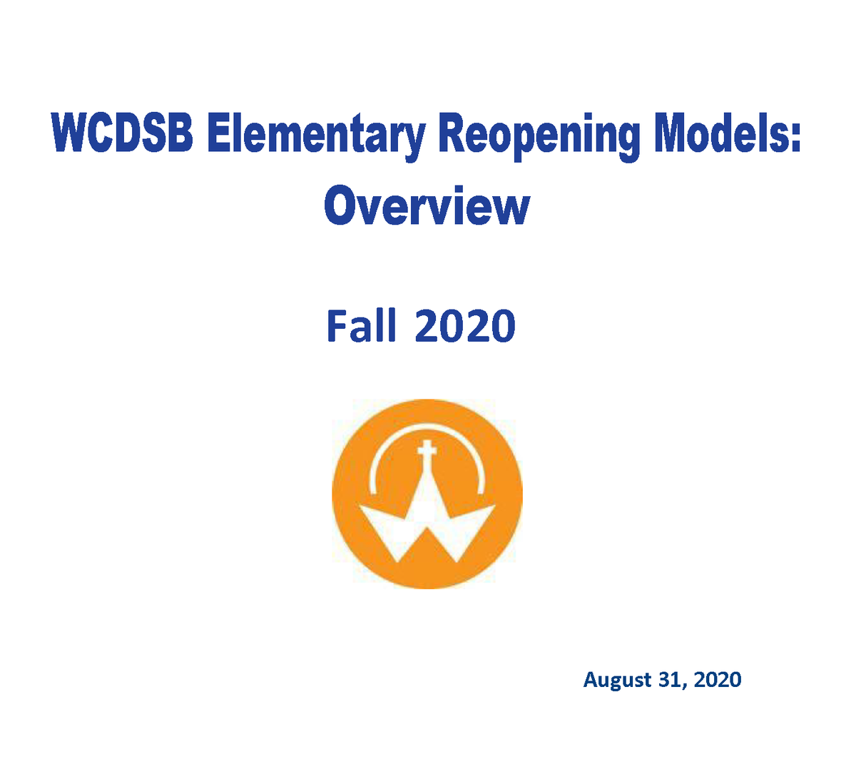 Elementary Reopening plan