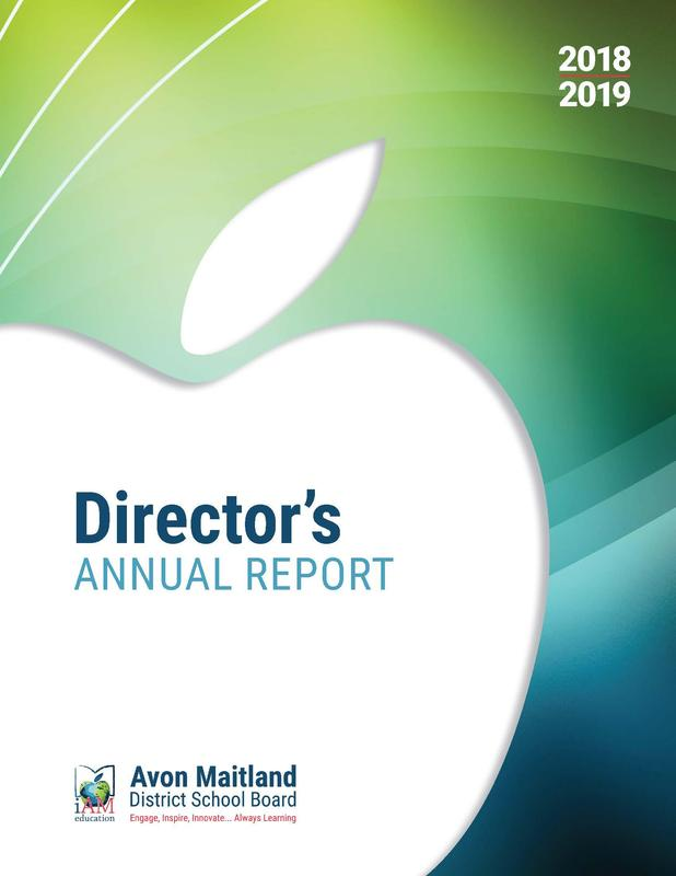 Director's Annual Report front cover. White apple with title inside, AMDSB logo