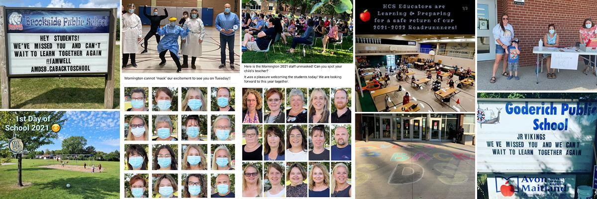 Collage of photos including staff preparing to welcome students, kindergarten students being welcomed, school signs with welcome message, etc.