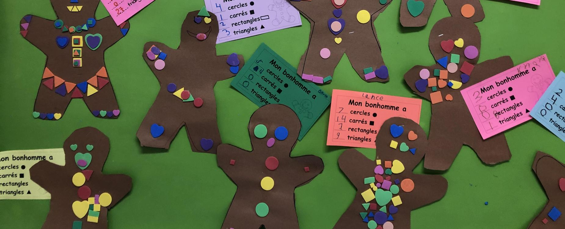 Cutout gingerbread characters have shapes glued to them by the students, who then count and list how many of each shape they have on their character.