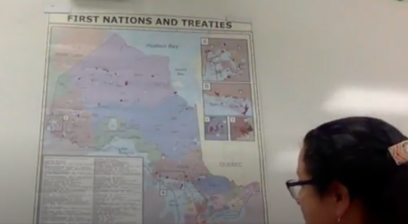 Photo of map with treaties