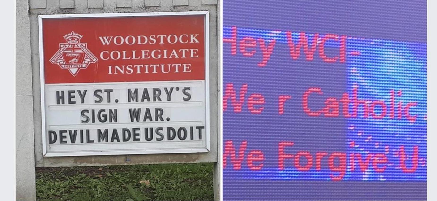 Sign wars Woodstock schools