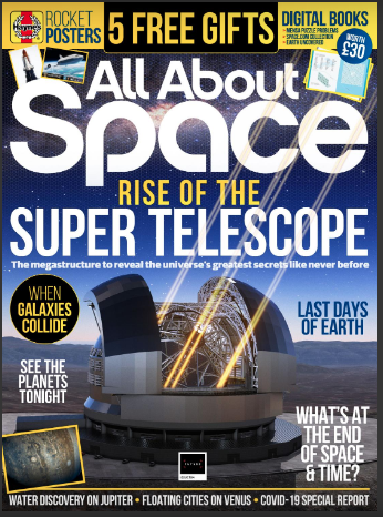 "All About Space magazine cover. Cover story: ""Rise of the Super Telescope"" with image of a telescope"