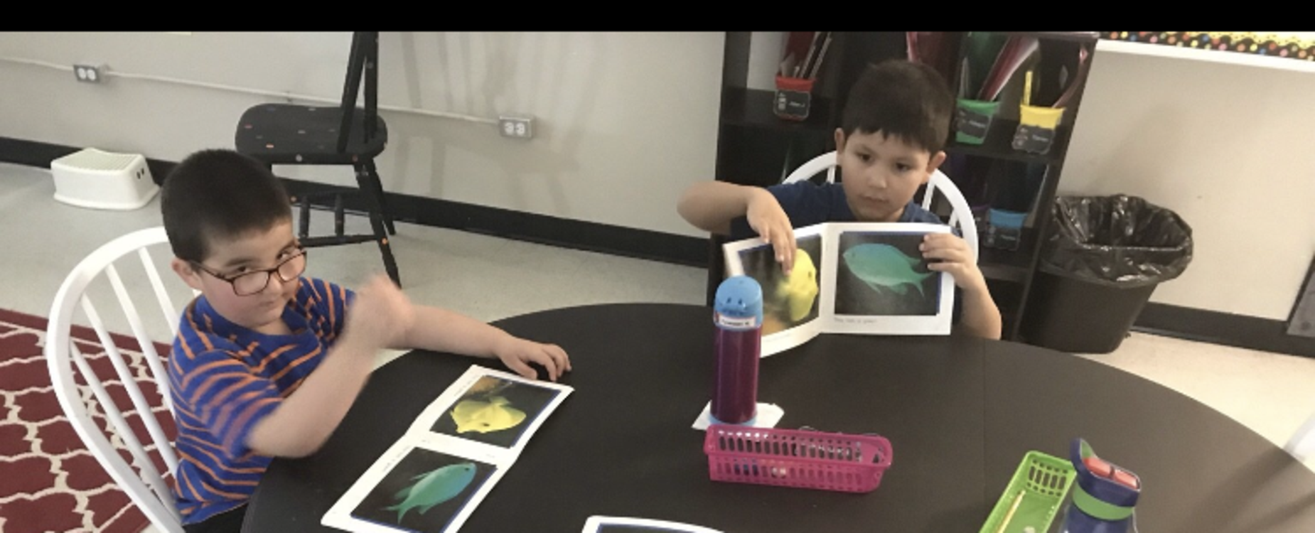 boys reading books with pictures of fish