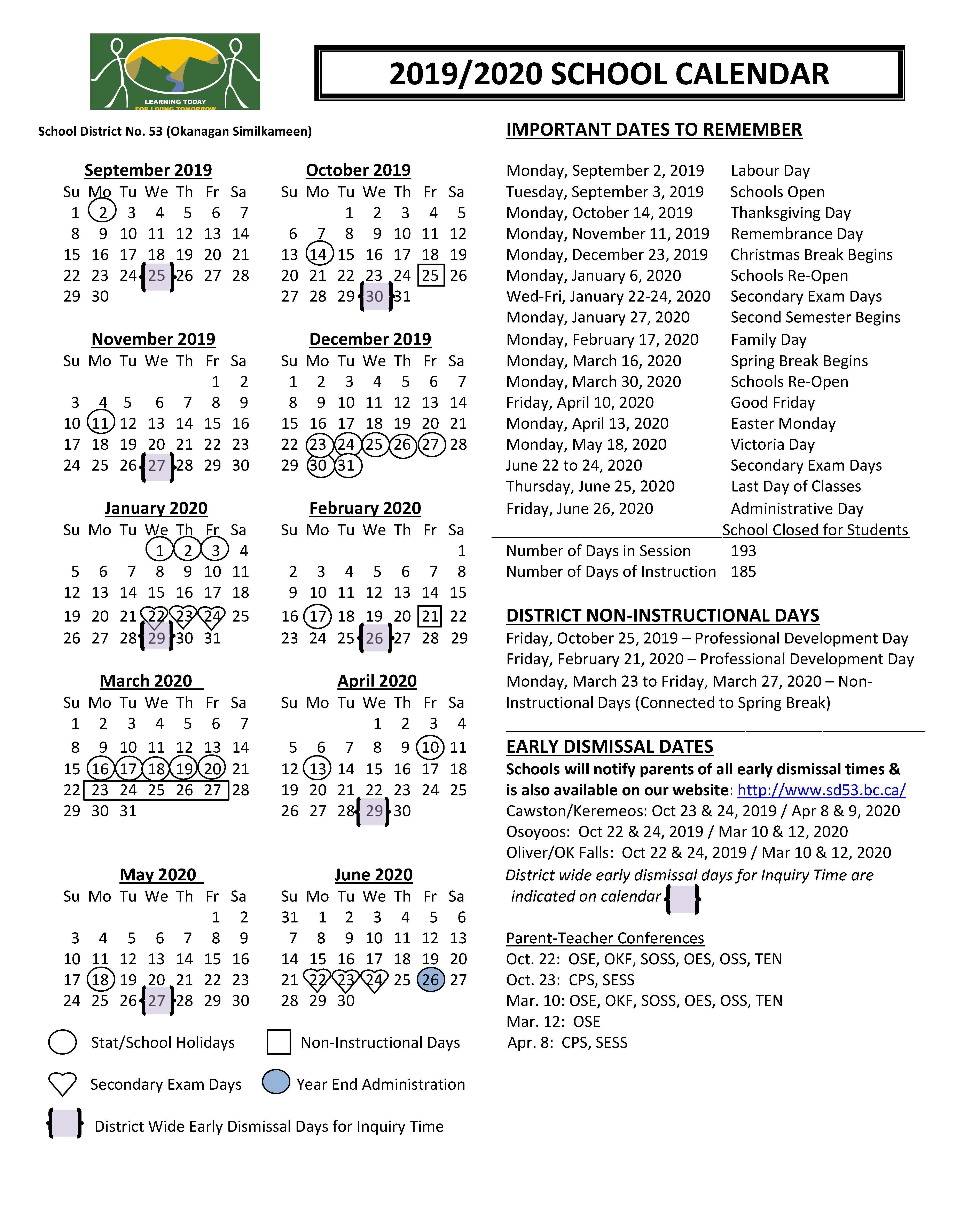 District Calendar – District Information – SD53 Okanagan