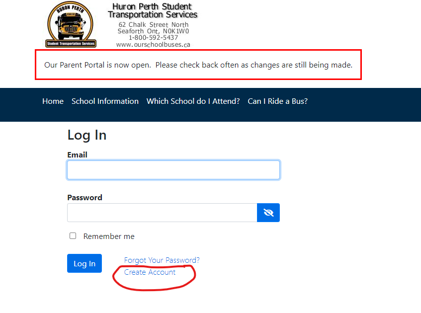 """Screenshot of BusPlanner login portal with red circle around """"Create Account"""" link"""