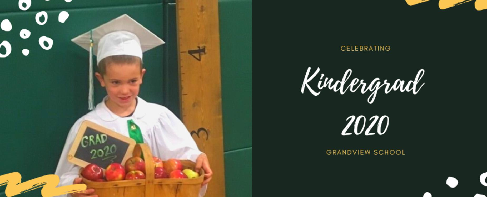 kindergarten student in cap and gown