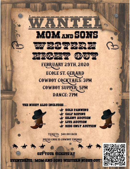 Mom and Sons Western Night Out on February 29th Featured Photo