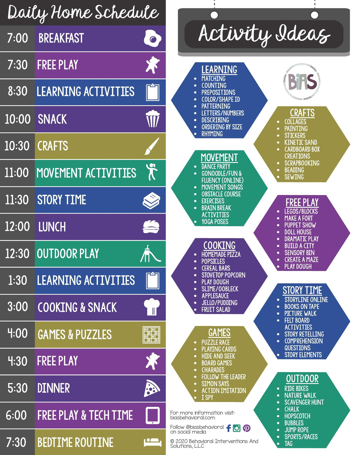 Daily Home Schedule and Activity Ideas