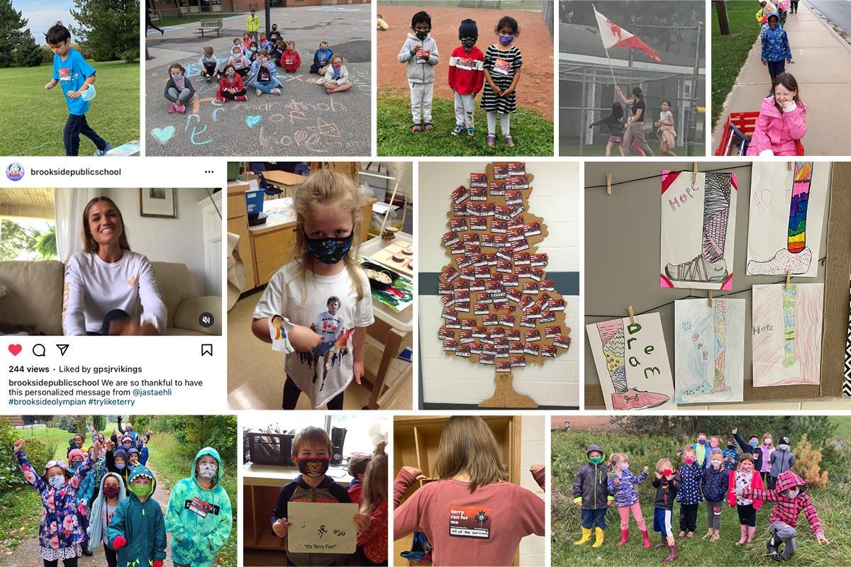 Collage of images of Terry Fox runs and Terry Fox inspired art, etc. from AMDSB schools